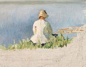 Maria YAKUNCHIKOVA. By the River. Woman at Painting (Yelena Polenova). Sketch