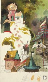"Yelena POLENOVA. Goat's-beard Settlement. Sketch of an illustration to the fairy-tale ""War of Mushrooms"". 1886–1889"