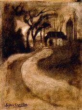 Eugène CARRIÈRE. Landscape with a Church. Circa 1893