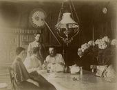Sitting: Natalia Golshtein, Vera Yakunchikova, Vladimir and Alexandra Golshtein. Photograph. First half of 1890s