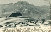View from a balcony at the health resort in Leysin, where Maria Yakunchikova-Weber was undergoing treatment. Postcard with notes made by Leon Weber. 1901