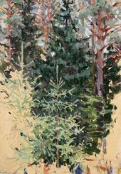 Maria YAKUNCHIKOVA-WEBER. A Light Spruce Against a Dark Spruce. 1890s
