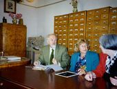 Alexandre Liapine, Iren Weber and Nicole Liapine in the Manuscript Department of the Tretyakov Gallery. Moscow. [1993]
