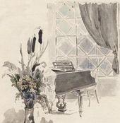 Maria YAKUNCHIKOVA. Grand Piano by the Window. A drawing in a letter from Maria Yakunchikova to Natalia Polenova. 1888