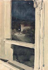 Maria YAKUNCHIKOVA. View from a window at night. [1890-e]