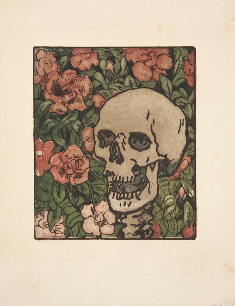 Maria YAKUNCHIKOVA. Death and Flowers [A Skull on a Dark Green Background with Pink and White Flowers] [1893–1895]