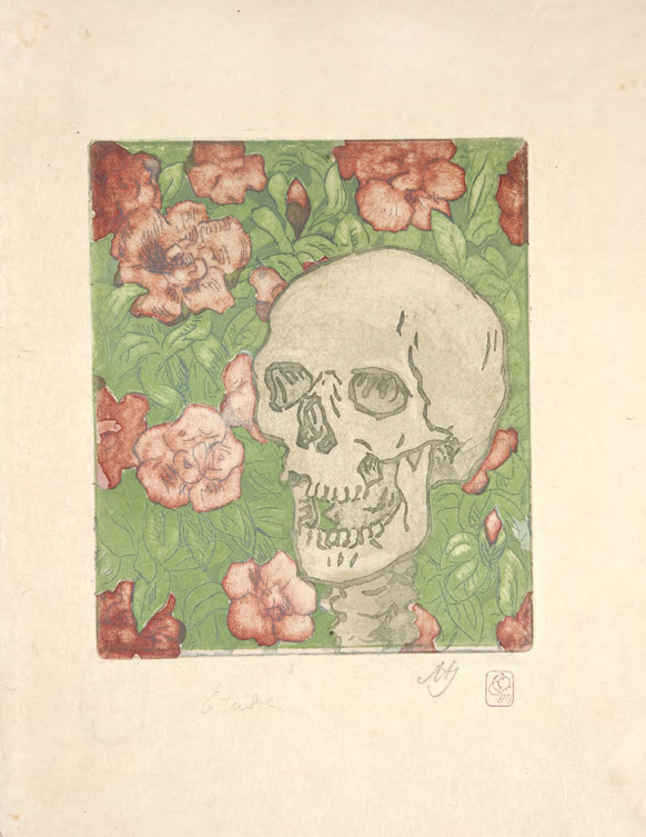 Maria YAKUNCHIKOVA. Death and Flowers [A Skull on a Light Green Background with Red flowers]. In or before 1902