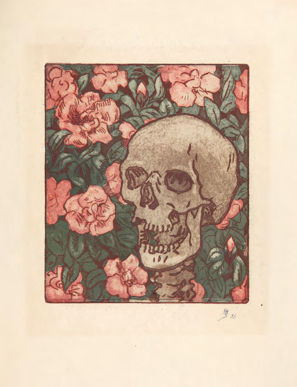 Maria YAKUNCHIKOVA. Death and Flowers [A Skull on a Dark Green Background with Pink Flowers]. 1893