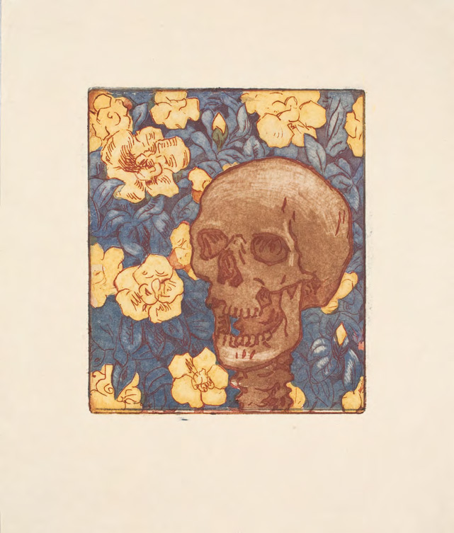 MARIA YAKUNCHIKOVA. Death and Flowers [A Skull on a Blue Background with Yellow Flowers] [1893-1895]