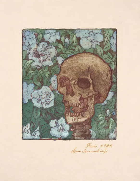 MARIA YAKUNCHIKOVA. Death and Flowers [A Skull on a Green Background with Blue Flowers]. 1893