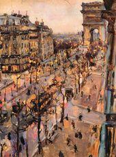 Maria YAKUNCHIKOVA. Paris. Avenue de Wagram and Triumphal Arch at Dusk. 1892
