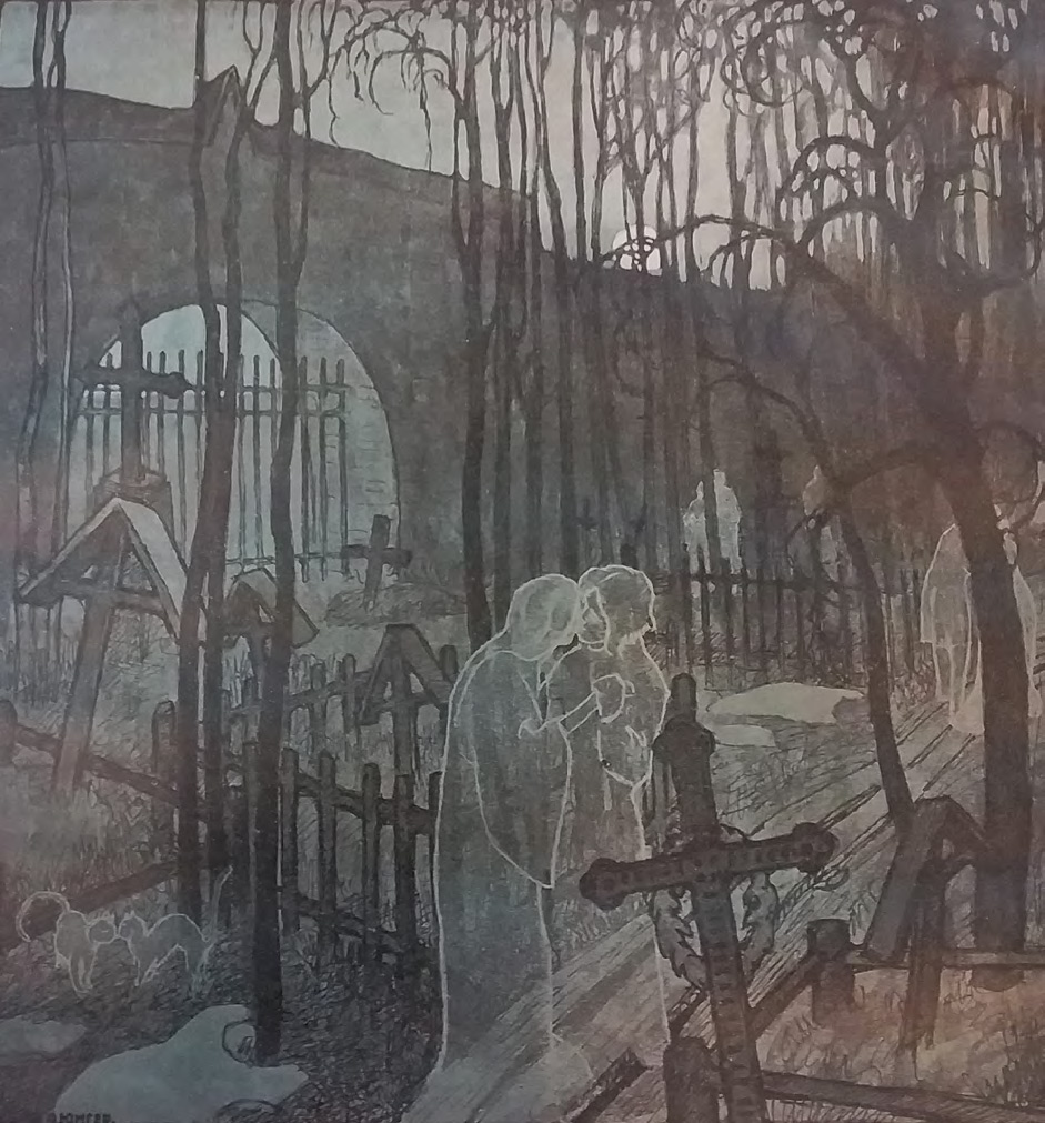 Lyrical parody of the decadent 'graveyard' iconography, reflecting in its landscape composition the influence of Maria Yakunchikova