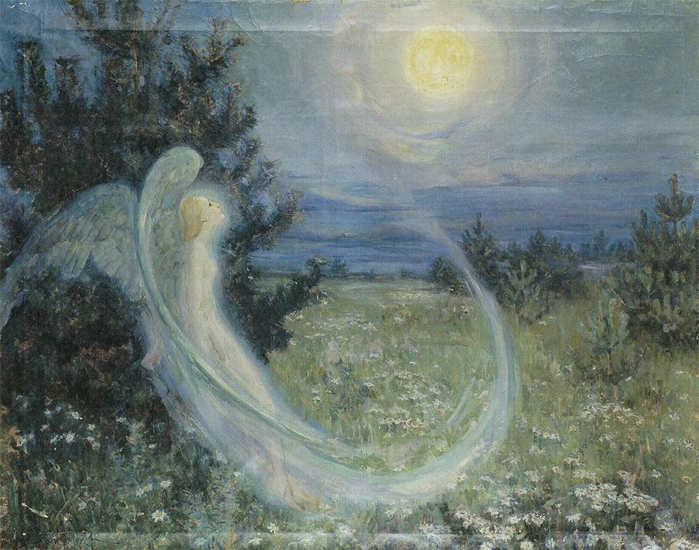 Maria YAKUNCHIKOVA. Rise of the Moon with an Angel. Circa 1895