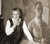 "Angelina Shchekin-Krotova by Robert Falk's painting ""Self-Portrait in Yellow"" (1924). 1970s"