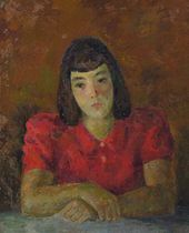 ROBERT FALK. Portrait of Tatiana Selvinskaya (in red). 1944