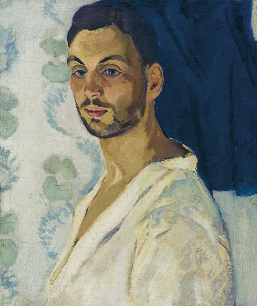 ROBERT FALK. Self-portrait on Blue Background. 1906