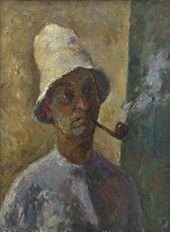 ROBERT FALK. Self-portrait with Pipe. 1935