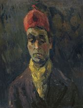 ROBERT FALK. Self-portrait in Red Fez and Yellow Scarf. 1936