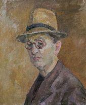 ROBERT FALK. Self-portrait in Straw Hat. 1955