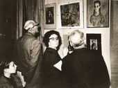Tatiana Guryeva-Gurevich with her son, M.A. Kamensky, near the works by Falk at the exhibition of watercolour portraits from private collections in Moscow held at the House of Artists (Kuznetsky Most, 11). 1968