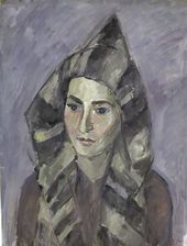 ROBERT FALK. Gelya in a Striped Hood. 1944
