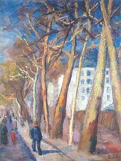 ROBERT FALK. Spring in Paris. Plane Trees on the Embankment. 1930s