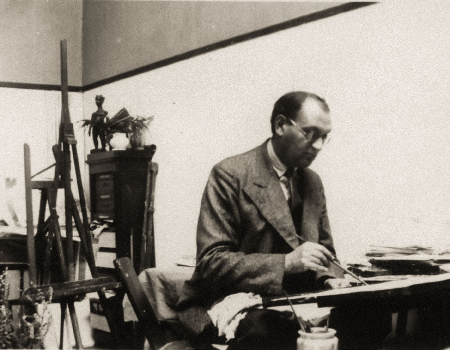 Robert Falk working at his studio in Paris. Mid 1930s