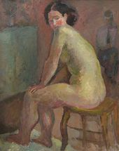 ROBERT FALK. Female Nude Sitting on a Stool. 1935
