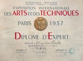Falk's certificate of participation in the 1937 Exposition universelle in Paris