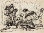 """EVA LEVINA-ROZENGOLTS. From the cycle """"People. (Rembrandt series)"""" Sheet 11 (Recumbent). 1958"""