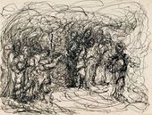 """EVA LEVINA-ROZENGOLTS. From the cycle """"People (Rembrandt series)"""" Sheet 24. 1958"""