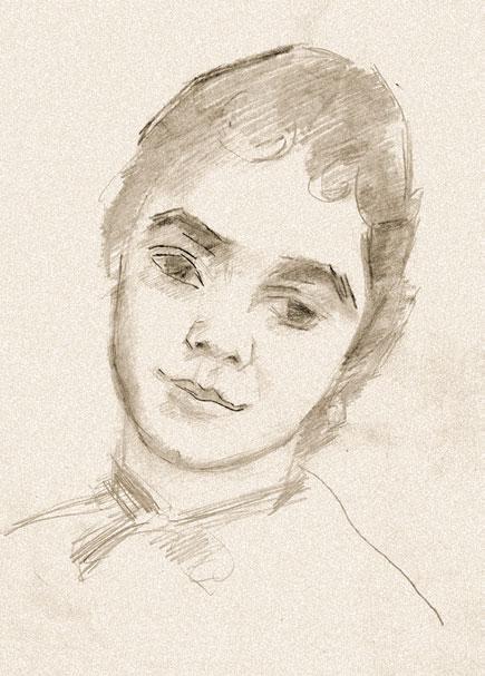 ROBERT FALK. Portrait of Olga Severtseva (left-side view). 1951