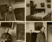 Robert Falk at the exhibition of his paintings at Sviatoslav Richter's apartment. 1957