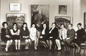 Angelina Shchekin-Krotova (in the centre) with the staff of the Shevchenko Kazakh Art Gallery at Falk's exhibition. Alma-Ata, 1969
