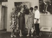 Angelina Shchekin-Krotova (second left) with visitors of the Falk exhibition at the State Art Gallery of Armenia. Yerevan, 1965