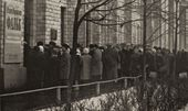 A line of visitors to Falk's exhibition at MOSKh Exhibition Hall in Begovaya Street. November, 1966