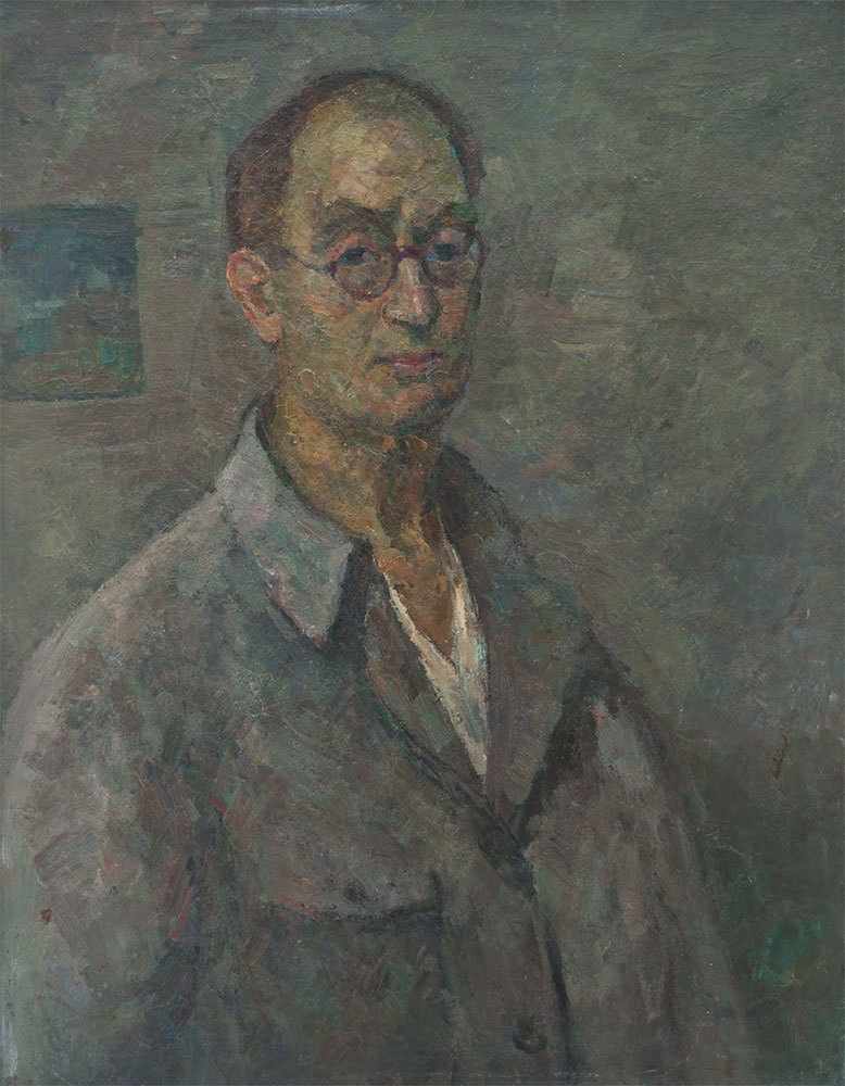 Robert FALK. Self-portrait in Grey Shirt. 1950