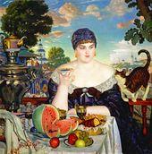 BORIS KUSTODIEV. Merchant's Wife Taking Tea by the Samovar. 1918