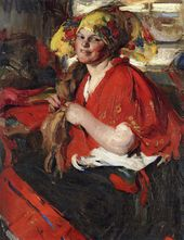 ABRAM ARKHIPOV. Peasant Woman with Red Shawl. 1920s