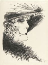 OTTO DIX. Portrait of a Woman in a Hat with Heron Feathers. 1924