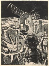 """OTTO DIX. Burnt Village (Nocturnal Encounter with a Lunatic). Sheet No. 22 from the series """"War"""". 1924"""