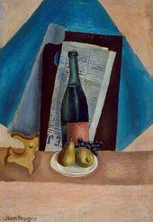 IWAN PUNI. Stillleben mit Flasche und Birnen. 1923