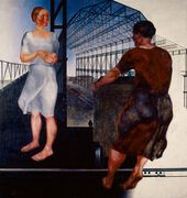 ALEXANDER DEINEKA. Beim Bau neuer Werkhallen. 1926