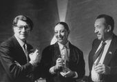Tahir Salachow und Yves Saint Laurent bei der Eröffnung der Ausstellung, Moskau. 1986