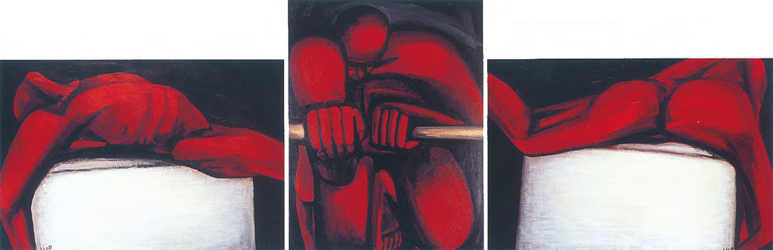 Hans-Hendrik GRIMMLING. Ruderer. Triptychon. 1983