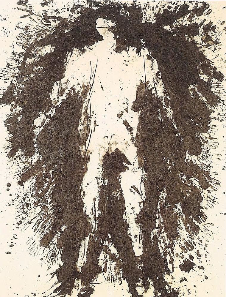 GÜNTHER UECKER. Aschemensch. 1986