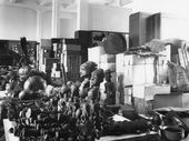Hall containing objects acquired during the African Expedition of 1910/11 led by Duke Adolf Friedrich of Mecklenburg