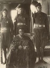"""The last King of Benin in captivity. On his journey into exile to Old Calabar in 1889 aboard the British yacht H.M. """"Ivy"""""""