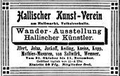 Advertisement for Hallescher Kunstverein. 1906