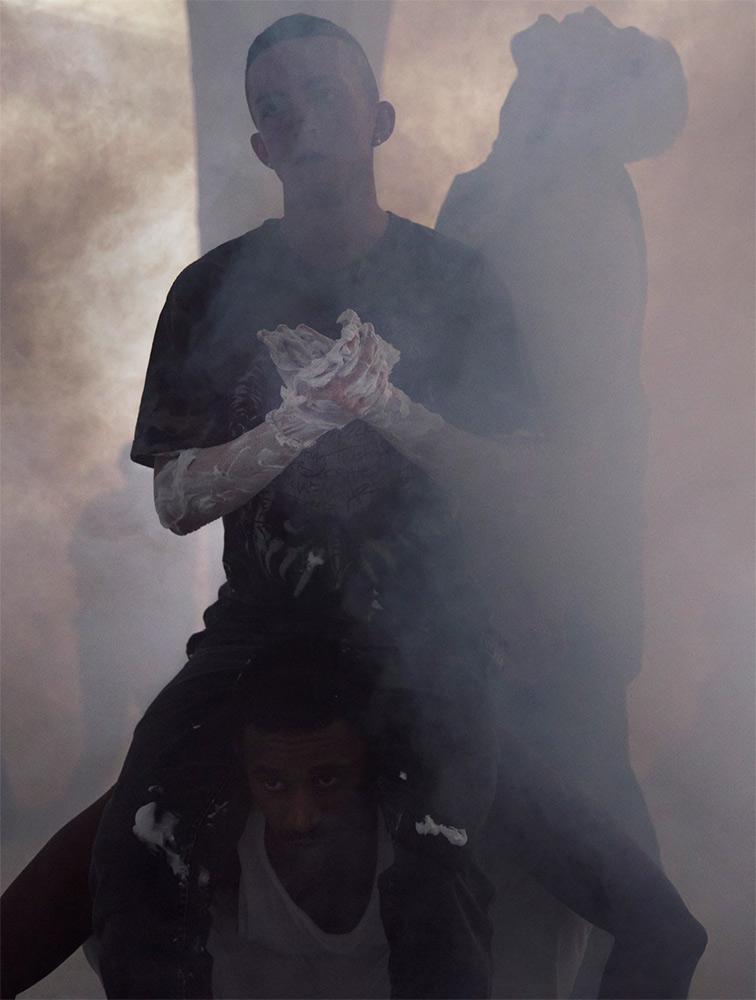 Mickey Mahar, Josh Johnson and Billy Bultheel in Anne Imhof's Angst II, performed at Hamburger Bahnhof Berlin, 2016